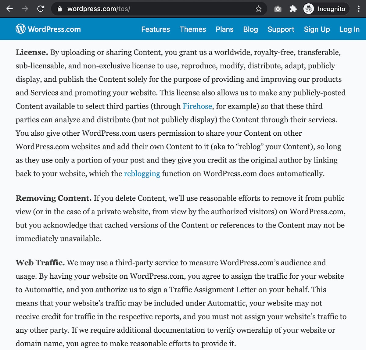 WordPress.com - Terms of Service
