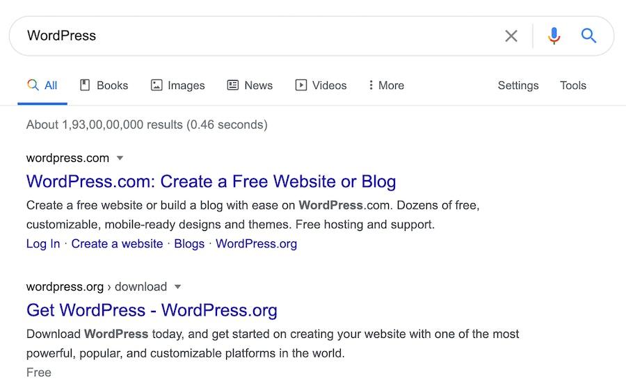 """WordPress"" search results on Google"